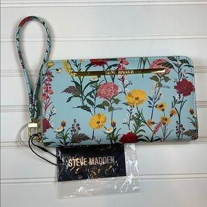 Steve Madden blue multi zip around wallet